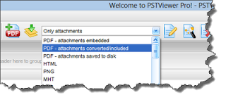 Convert eml and msg files to PDF with Pst Viewer Pro. Screen shot shows drop down menu.