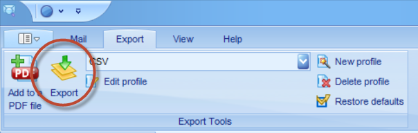 "PstViewer Pro Export tab with the ""Export"" button circled."