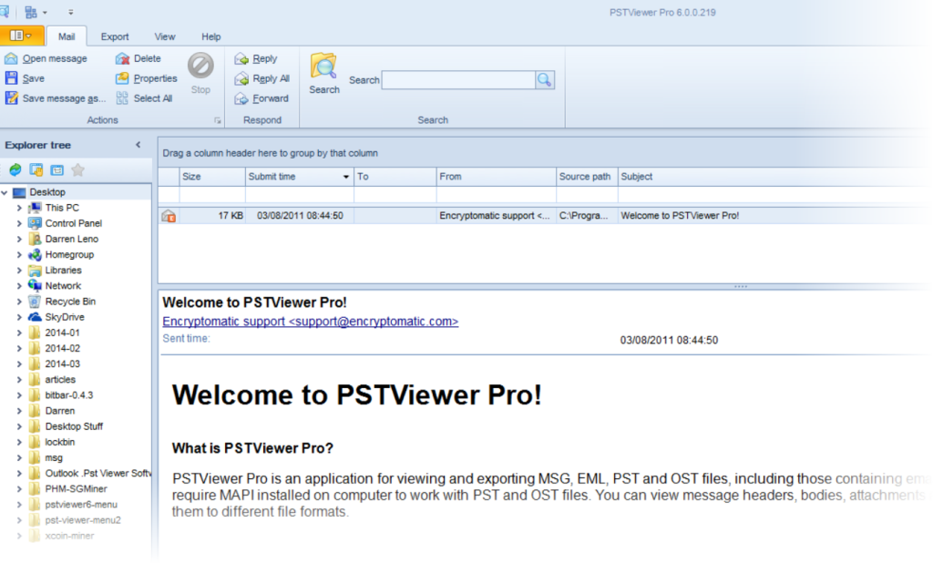 The standard lay for viewing email messages in PST Viewer Pro software for Windows.