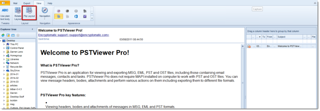 """You can adjust the layout of PstViewer Pro email viewing by clicking """"Flip Layout"""" button."""