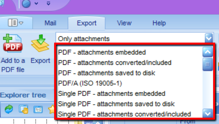 This is a screen image of PstViewer Pro showing the pdf selection list.