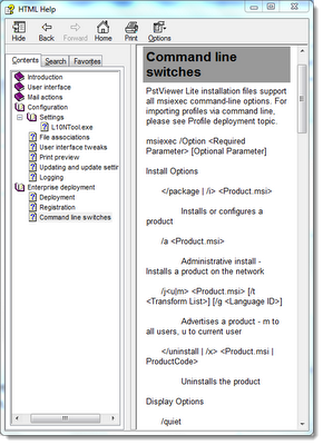 PST viewer command line switches