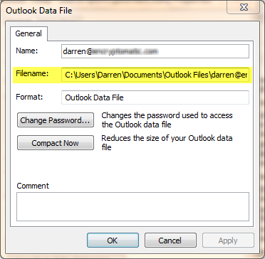 Outlook data file location