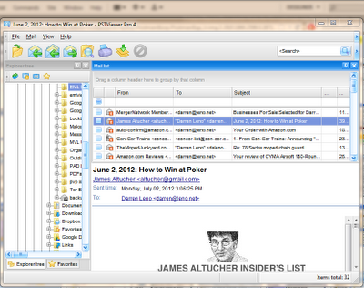.PST file viewer email list