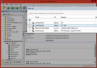Image shows the Pst Viewer Pro mail list populated with Outlook email messages.