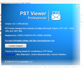 Image shows the About screen for PST Viewer Pro, which shows whether the 32 or 64 bit version of the software was installed.