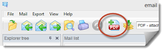 PstViewer Pro toolbar button for combining a .msg to .pdf
