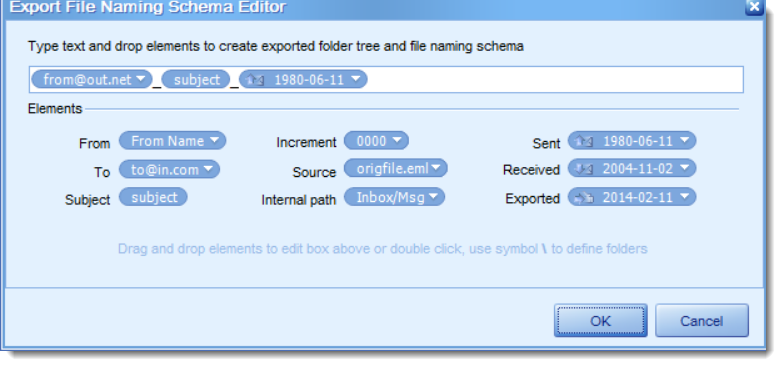 Image shows the naming editor for PstViewer Pro.