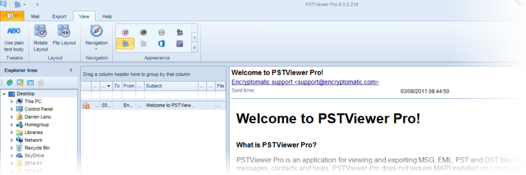 Move email viewing pane to right column in PstViewer Pro.